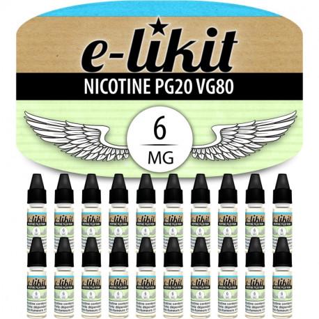 Lot de 20 x Nicotine 6 mg - PG20 VG80